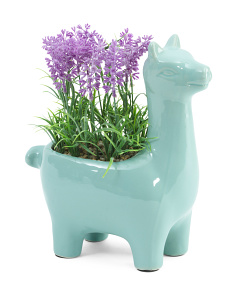 Medium Faux Lavender With Llama Pot