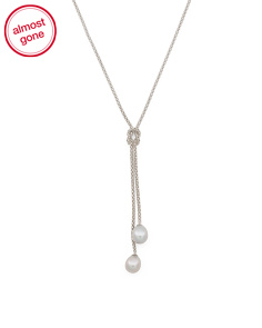 Sterling Silver Grey Pearl Popcorn Chain Lariat Necklace