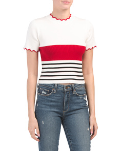 Juniors Australian Designed Striped Crop Sweater