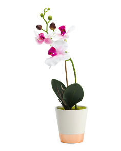 Metallic Faux Orchid With Pot