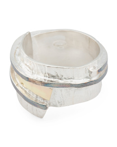 Made In Israel 14k Gold And Sterling Silver Band Ring