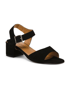 Made In Italy Suede Ankle Strap Sandals