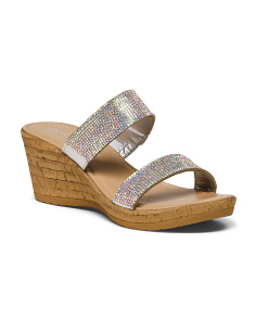 Made In Italy Two Strap Glitter Sandals