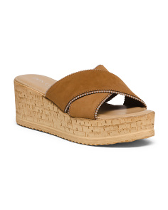 Made In Italy Platform X Band Leather Sandals