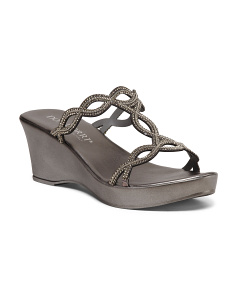 Made In Italy Stone Metallic T-band Sandals