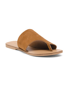 Made In Italy Toe Thong Suede Sandals