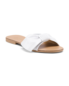 Made In Italy Leather Bow Slide Sandals