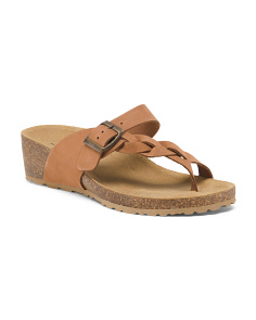 Made In Italy Leather Wedge Sandals