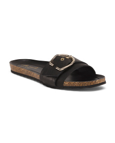 Made In Italy Leather Buckle Strap Sandals