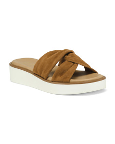 Made In Italy Knotted Suede Slip On Sandals