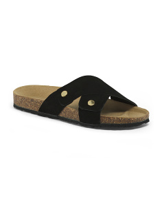 Made In Italy Slip On Suede Sandals