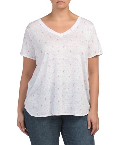 Plus Flamingo Print Linen Tee