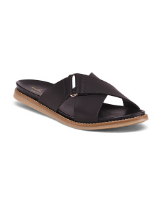 Made In Italy Leather Slip On Sandals