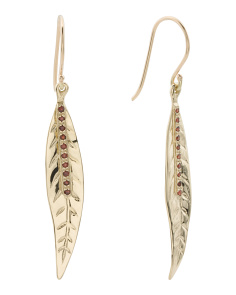 Made In Israel 14k Gold And Garnet Leaf Earrings