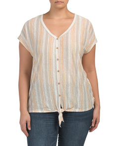 Plus Linen Striped Tie Front Top
