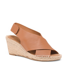Made In Spain Leather Wedge Espadrilles