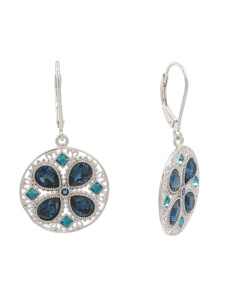 Sterling Silver Swarovski Crystal Inset Disc Earrings