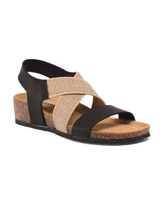 Made In Italy Leather Sandals With Elastic Stripes