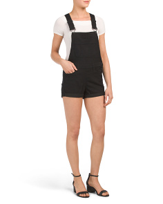 Juniors Black Twill Shortalls