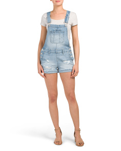 Juniors Light Wash Fray Cuff Shortalls