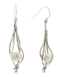 Made In Israel Sterling Silver And Pearl Freeform Earrings
