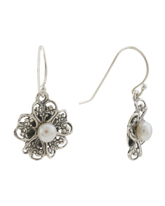 Made In Israel Sterling Silver Pearl Lace Earrings