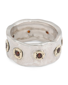 Made In Israel 14k Gold And Sterling Silver Garnet Band Ring