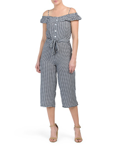 Juniors Gingham Cold Shoulder Jumpsuit