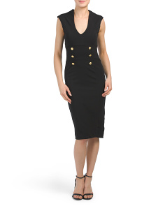 Juniors Midi Dress With Military Gold Buttons