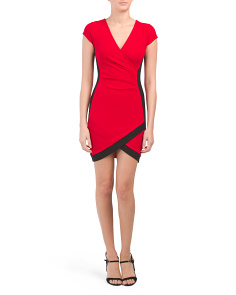 Juniors Color Block Wrap Dress