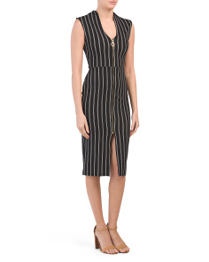 Juniors Pinstripe Front Dress