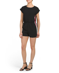 Juniors Romper With Side Stripes