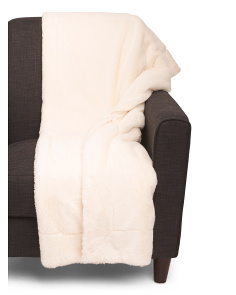 Solid Faux Rabbit Fur Throw