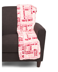 Valentines Words Plush Throw