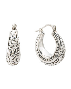 Sterling Silver Beaded Hoop Earrings