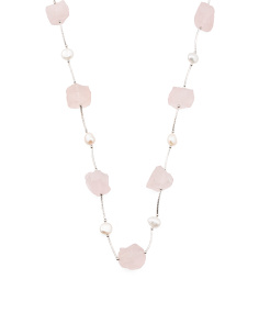 Sterling Silver Pearl And Rose Quartz Necklace