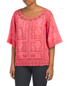 Mineral Wash Crochet Top