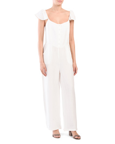 Button Front Linen Blend Jumpsuit