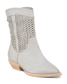 Perforated Pointy Toe Mid Shaft Leather Boots