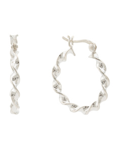 Sterling Silver 25mm Twisted Hoop Earrings