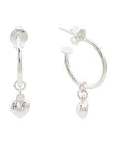 Sterling Silver Heart Drop Hoop Earrings