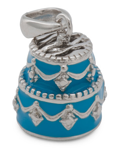 Sterling Silver Enamel Wedding Cake Charm
