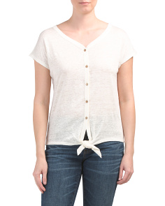 Linen Button Down Tie Front Top
