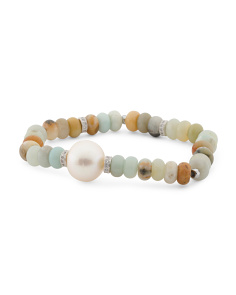 Amazonite Pearl And Cz Stretch Bracelet