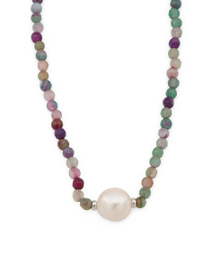 Sterling Silver Baroque Pearl And Agate Necklace