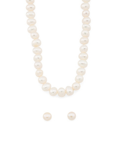 Sterling Silver Pearl Stud Earrings And Necklace Set