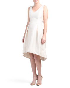 V-neck Hi-lo Dupioni Dress