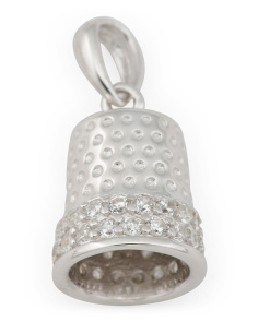 Sterling Silver Cz Thimble Charm