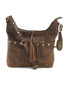 Distressed Studded Leather Crossbody