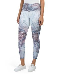 Ankle Length High Waist Elephant Fractal Heaven Leggings